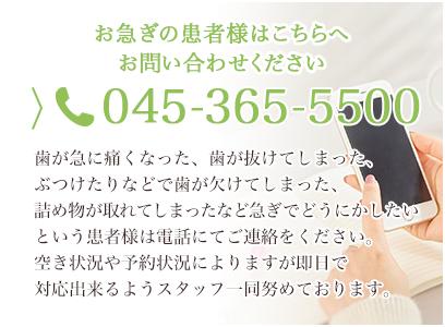お急ぎの患者様はこちらへ お問い合わせくださいTEL.045-365-5500